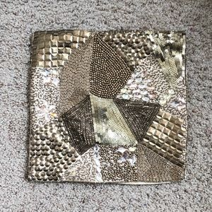 Other - Gold Beaded & Sequined 12X12 Throw Pillow
